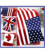 USA UK & Canada Flag of our Nation Soft and Absorbent Large Cotton Beach... - $43.95