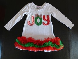 The Princess & The Prince JOY Red Green Ruffle Shirt Girls Size 3 Christmas - $8.70