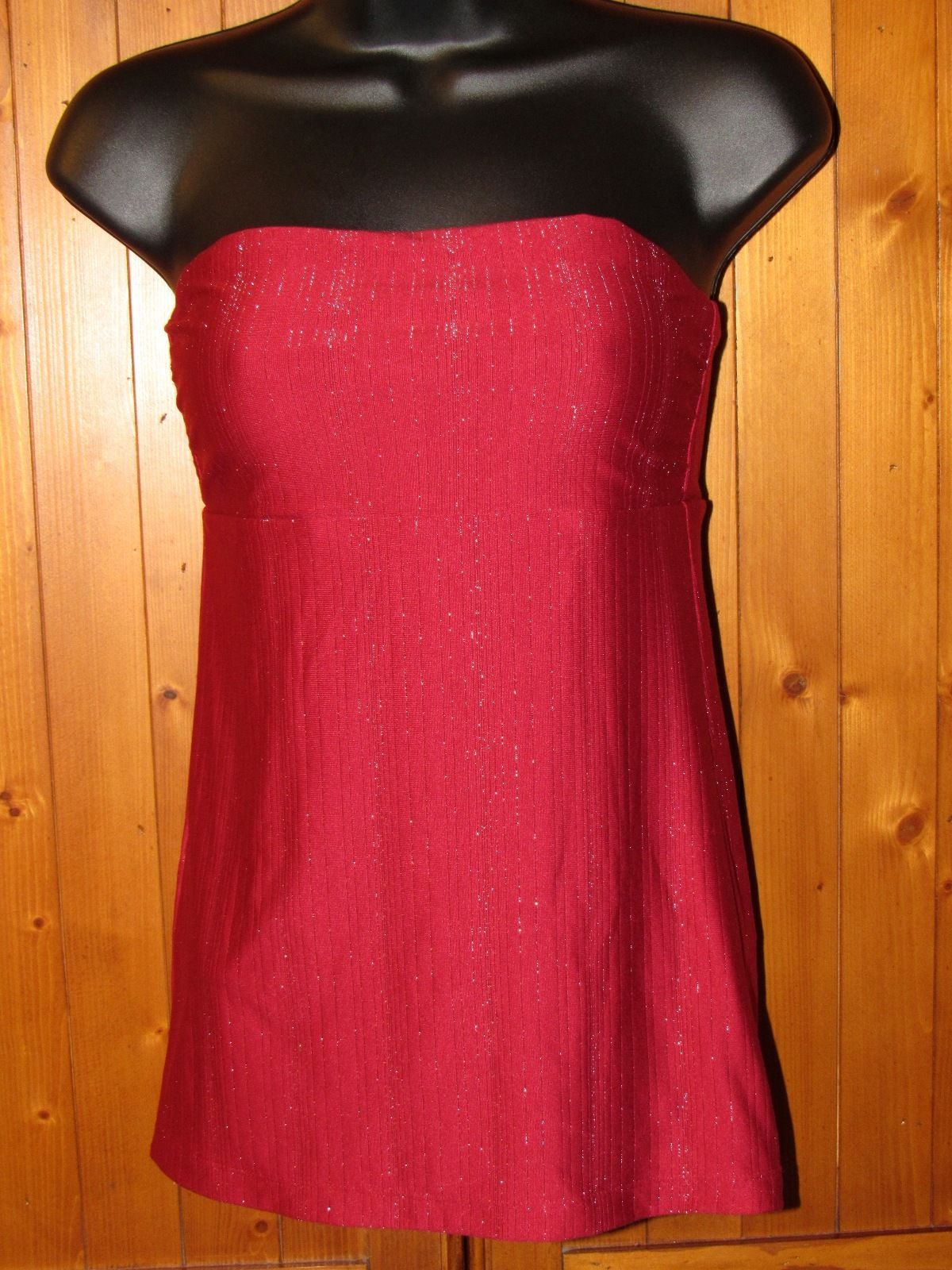 Express Red Tube Top With Small Silver Glittery Stripes Nylon/Spandex Sexy S: S