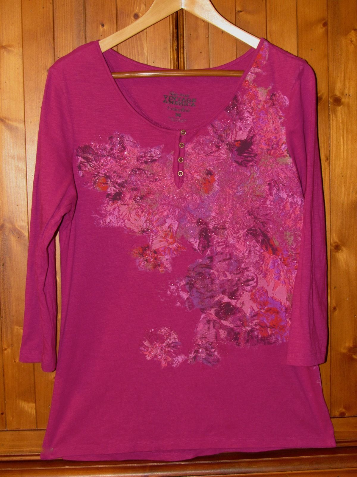 Nine West Vintage America Collection Berry Cotton Embellished Floral Top S: M