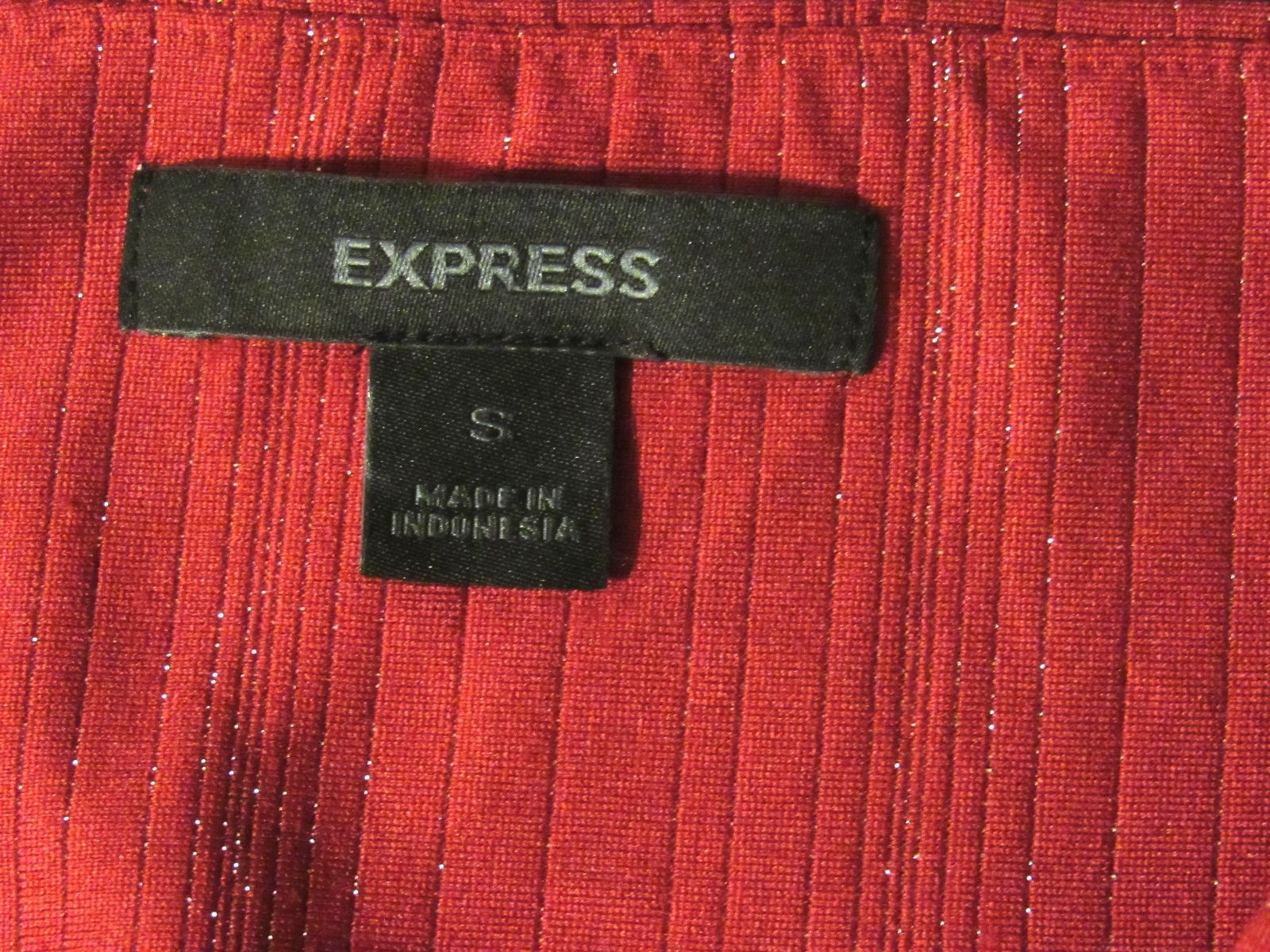 Express Red Tube Top With Small Silver Glittery Stripes -1230