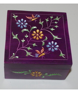 Flowery Purple Carved Soapstone Box India - $20.00