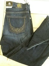 Misses 10 Rock & Republic Indigo Blue Stretch Denim Boot cut Jeans Bling... - $27.79