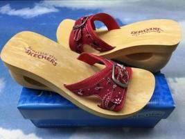 Skechers Red Buckle Wedged Slide Women Size 9 - $16.00
