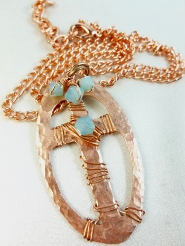 Copper Metal Hammered Cross Oval Pendant Blue Swarovski Crystals