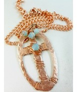 Copper Metal Hammered Cross Oval Pendant Blue S... - $31.00