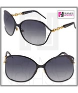 GUCCI CHAIN 4250 Black Rose Gold Oversized Sunglasses Gradient F0GVK GG4... - $296.01