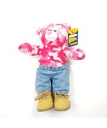 Build A Bear Pink Camo Bear 18'' with BAB Timberland Style Boots and Jeans - $24.02