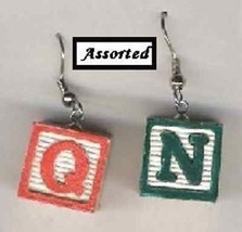 Funky Alphabet ABC BABY BLOCKS EARRINGS-Mini Wood Charm Teacher Costume ... - $5.99
