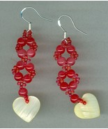 Handmade Dangling Beaded Earrings, red glass beads, heart mother of pearl - $5.25