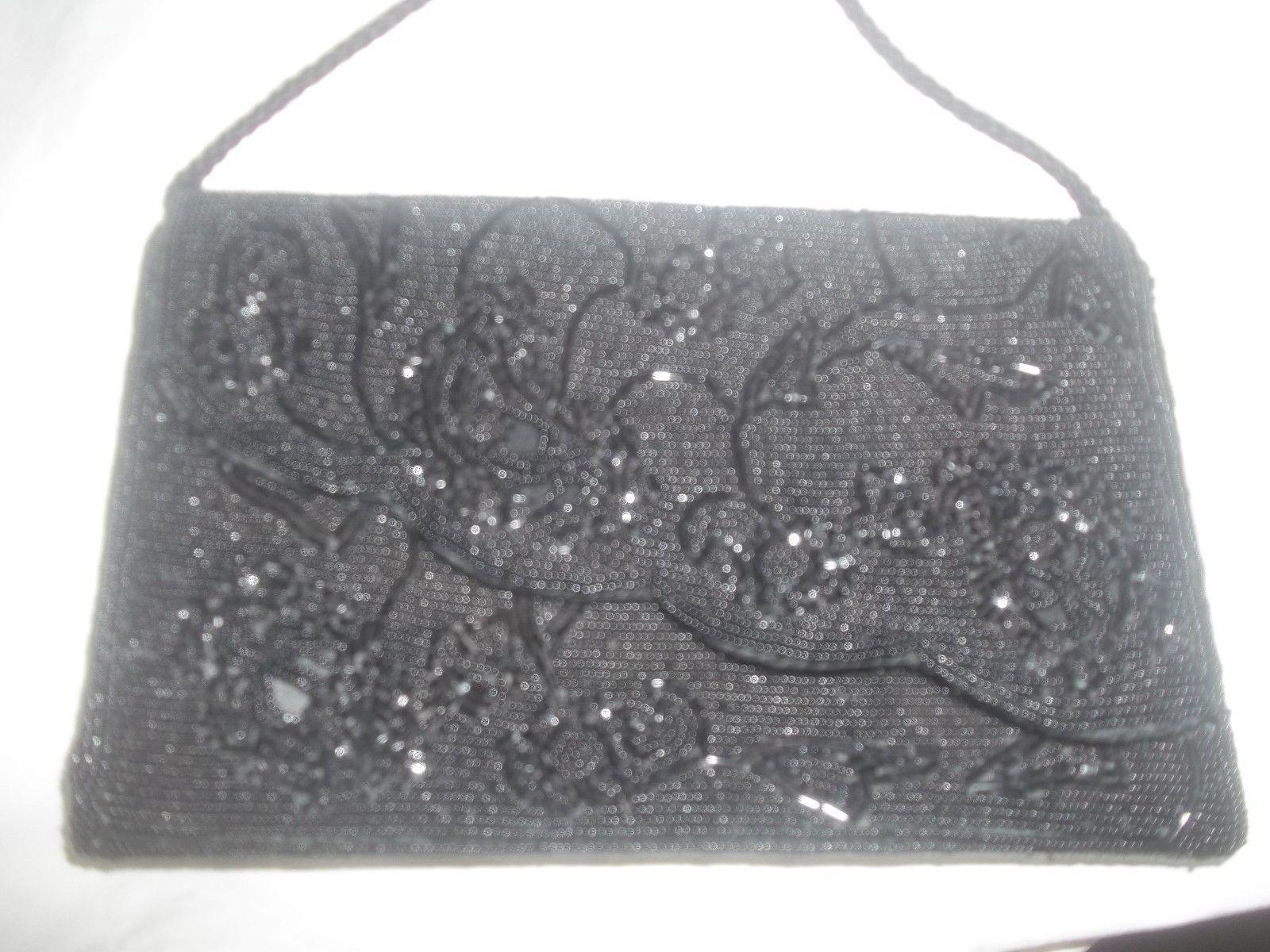 Vintage Black Beaded Clutch Handbag Purse 24 74