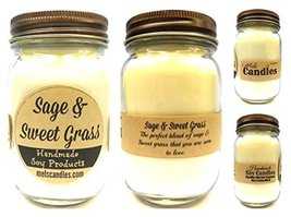 Sage & Sweet Grass - 16oz Country Jar Soy Candle - Handmade in Rolla MO ... - $14.85