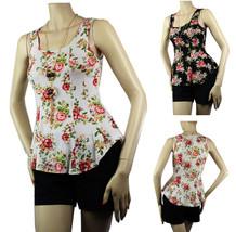 Flower Print w/Necklace Sexy Peplum BLOUSE Summer Shirt  Beach Party Cas... - $19.99