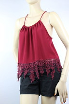 Lace Fringe Halter Sexy CHIFFON Tank Top Key hole Summer Casual Shirts  ... - $19.99