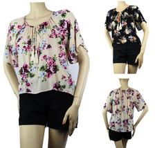 Short Slv Flower Print BLOUSE Summer Shirt Pleat Body Hi-Low Beach Party... - $19.99