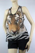 Racer Back Tiger Print Chiffon Color Block Layering Summer Tank Top Sexy... - $16.99