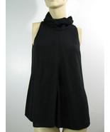 Chanel Black Wool Crepe Draped Collar/Neck Blouse Top Shell  Sleeveless ... - $630.49