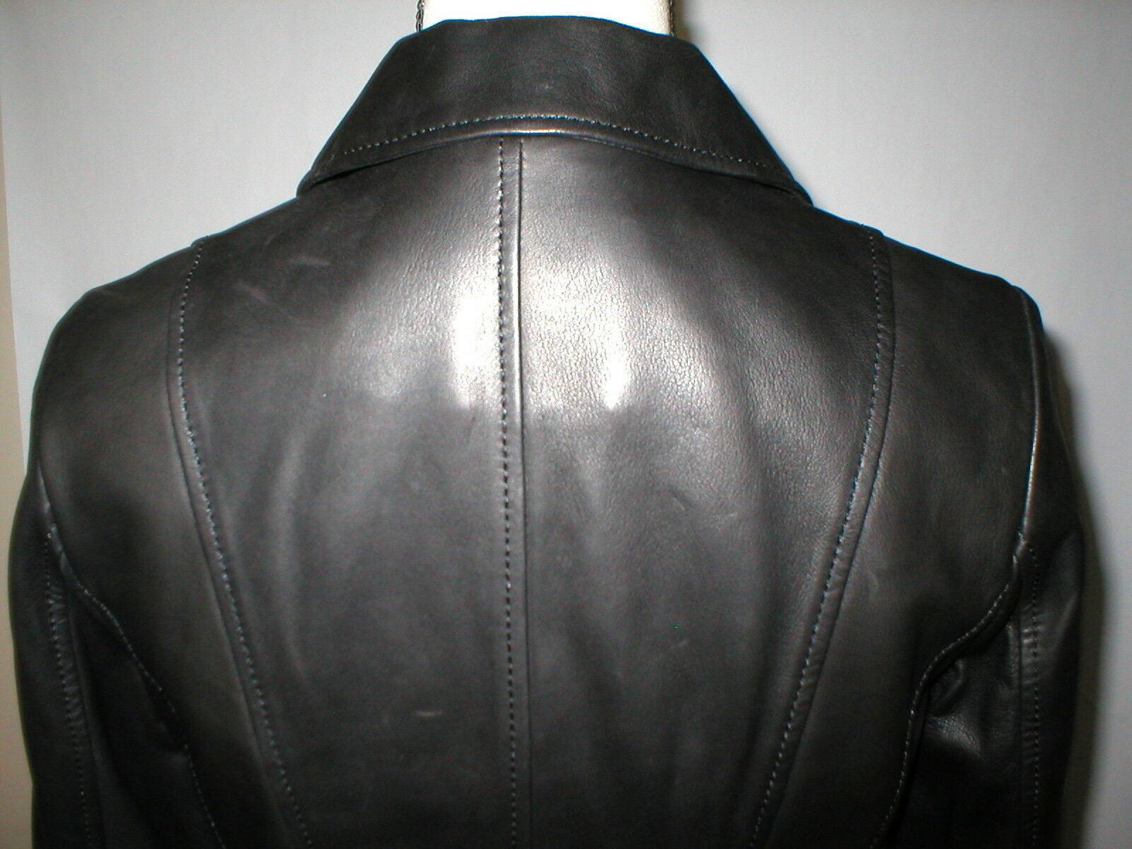 New Womens S Soft Karl Lagerfeld Paris Leather Jacket Black Silver Designer Lamb image 5