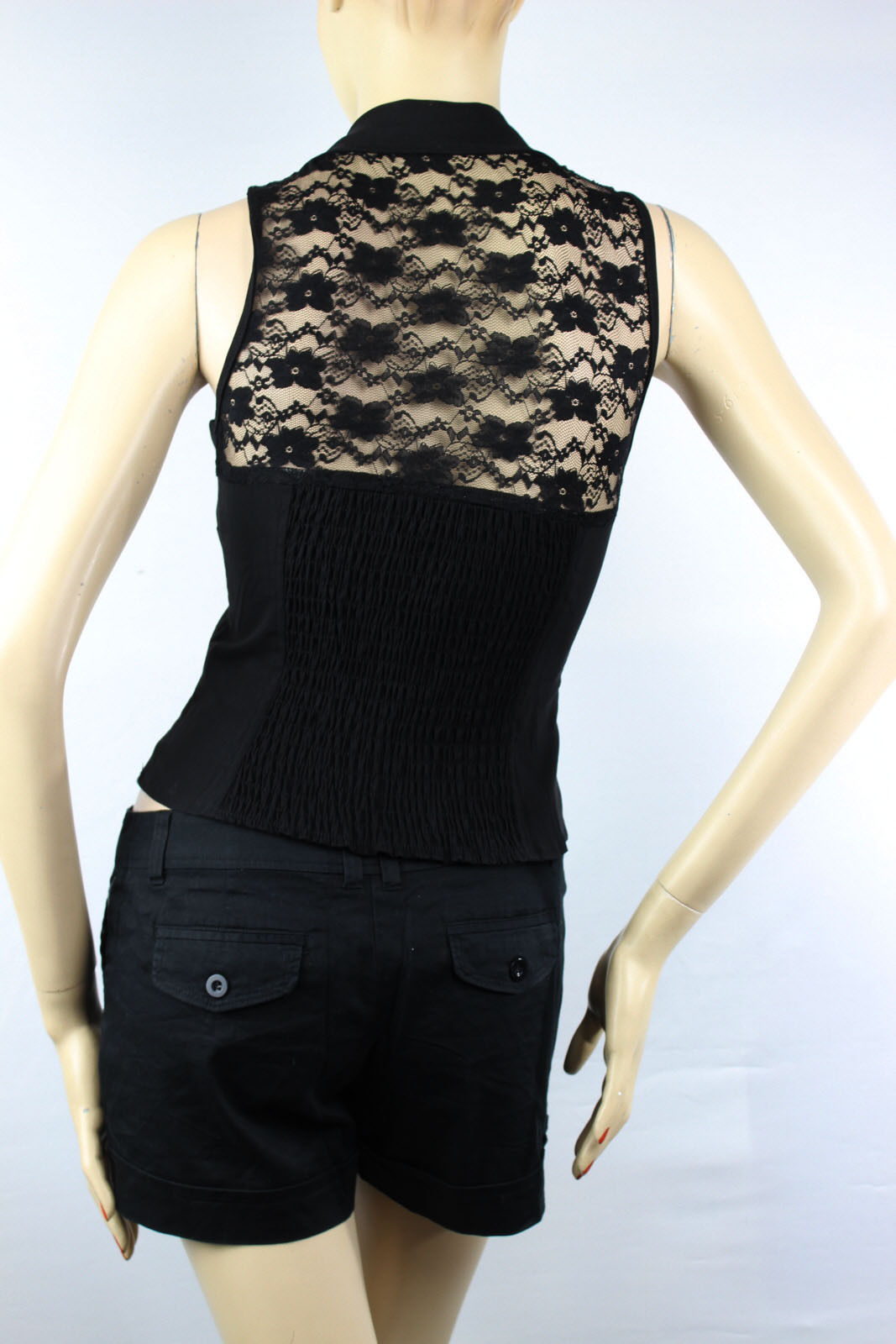 Lace,Smocking Back Detail Button Sexy CORSET Bra Casual Summer Tank Top VEST