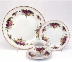 English Rose Garden Porcelain China  24 kt Gold Banded 48 Piece Dinnerwa... - $415.29