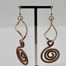 Drop Earrings Aluminum Burnished and Laminated Yellow Gold with Hook Hook image 4
