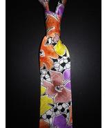 Mens necktie abstract floral silk screen print neck tie, beautiful present. - $19.50