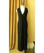 Ralph Lauren Dress Long Black Jersey Maxi Dress Side Slits Sleeveless V-... - $68.31