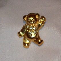 Avon Gold Tone Rhinestone Diamond Crystals TEDDY BEAR Pin Brooch Slider  - $3.00