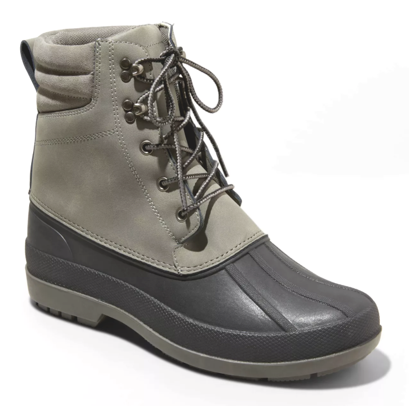 Goodfellow & Co Mens Atley Gray Water Resistant Leather Duck Winter Snow Boots