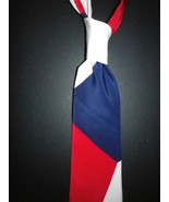 Mens necktie stunning red white blueTeamGroom necktie handmade England - $19.50