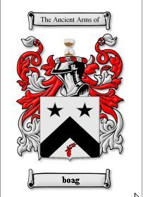 BOAG SURNAME COAT OF ARMS PRINT - GENEALOGY Bonanza