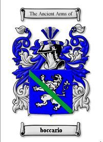 BOCCARIO SURNAME COAT OF ARMS PRINT - GENEALOGY Bonanza