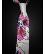 Mens necktie fabulous floral off white silk shantung necktie, beautiful ... - $19.50
