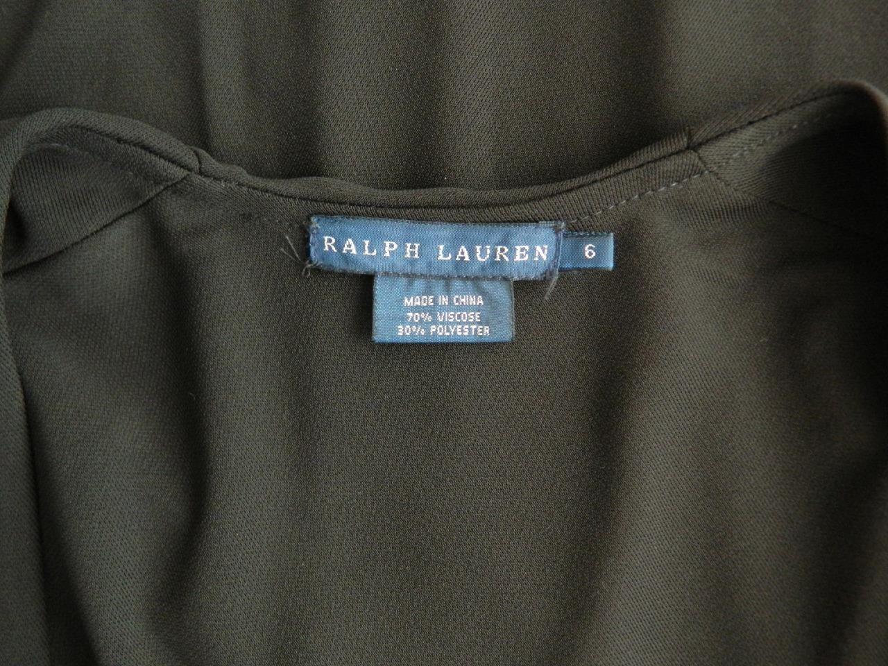 Ralph Lauren Dress Long Black Jersey Maxi Dress Side Slits Sleeveless V-Neck 6