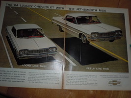 64 Luxury Chevrolet Impala Sports Coupe 2 Page Print Magazine Ad 1964 - $12.99