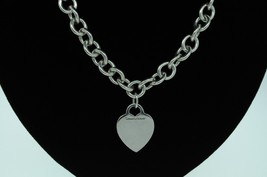 "TIFFANY & CO. Sterling Silver Heart Tag Charm Necklace (16"") - $200.00"