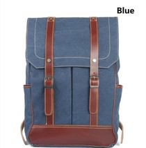 Men's Leather Student Bags Computer Women's Laptop Bags Canvas Leather W... - $91.80