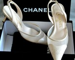 Authentic CHANEL Womens Shoes Beige CC Embroidery Sling-back Heels Box Dust Bag - ₹47,834.03 INR