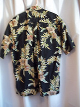 Hawaiian Cooke Street  Shirt Large Black Gold  and Tan Hybicus 100% Cotton - $14.99