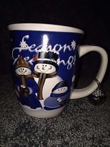Snow man mug Cup blue red white black Coffee tea hot chocolate gloss fin... - $12.00