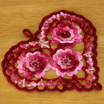 Romantic Style Red Heart with Beaded Irish Croc... - $12.50