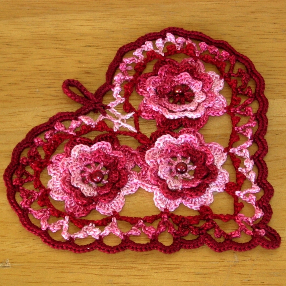 Romantic Style Red Heart with Beaded Irish Crochet Roses by RSS Designs In Fiber