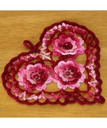 Romantic Style Red Heart with Beaded Irish Crochet Roses by RSS Designs ... - $12.50
