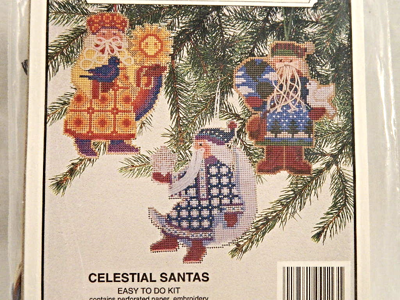 Willmaur Crafts CELESTIAL HEIRLOOM SANTAS Counted Cross-Stitch Kit!