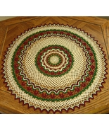 Holiday Red - Green - White Graphic Round Table... - $52.50
