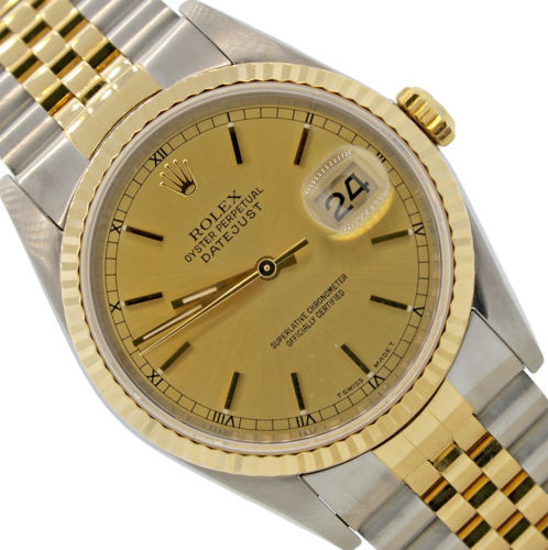 Men`s Rolex DateJust Two-Tone 18K Gold Stainless 16233 36mm Jubilee Watch