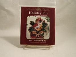 """Mill Hill """"Mistletoe Kitty"""" Holiday Pin or Ornament Cross-Stitch Kit - NIP! - $10.50"""