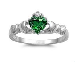 Sterling Silver Claddagh ring size 12 CZ Heart Crown Green Emerald Irish... - $10.88