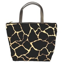Black Giraffe Print Custom Bucket Bag (2  Side) - $27.00