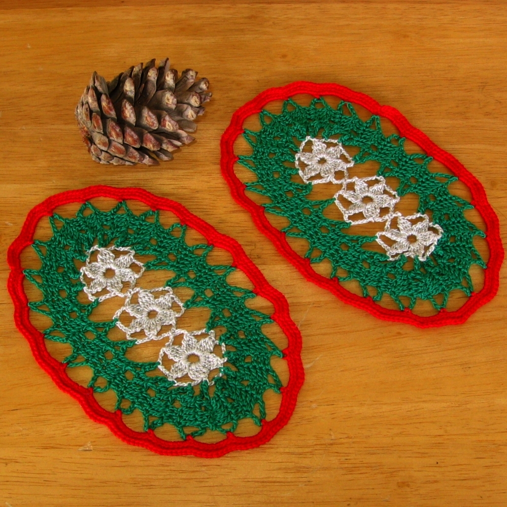 Holiday Silver Flowers in Red & Green Ovals - Fiber Art by RSS Designs In Fiber